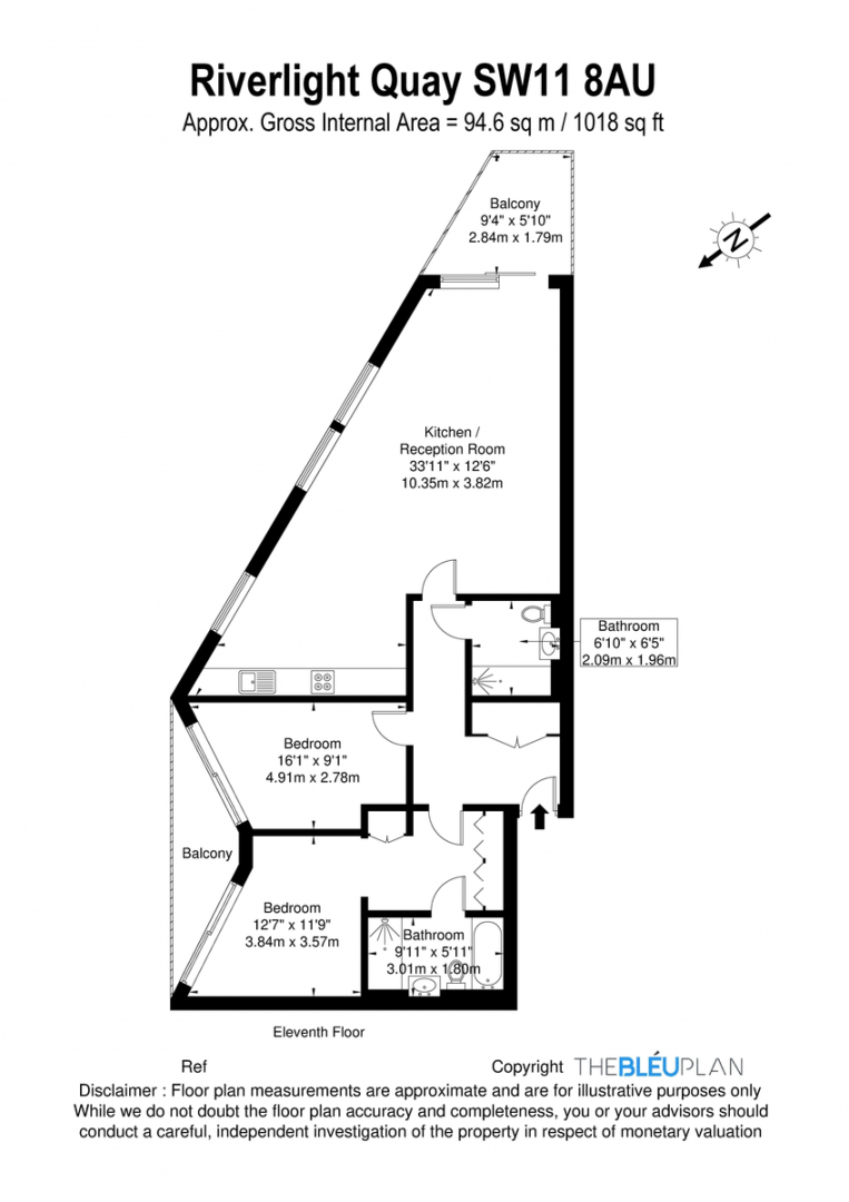 2 bed flat for sale in Riverlight Quay, London - Property Floorplan
