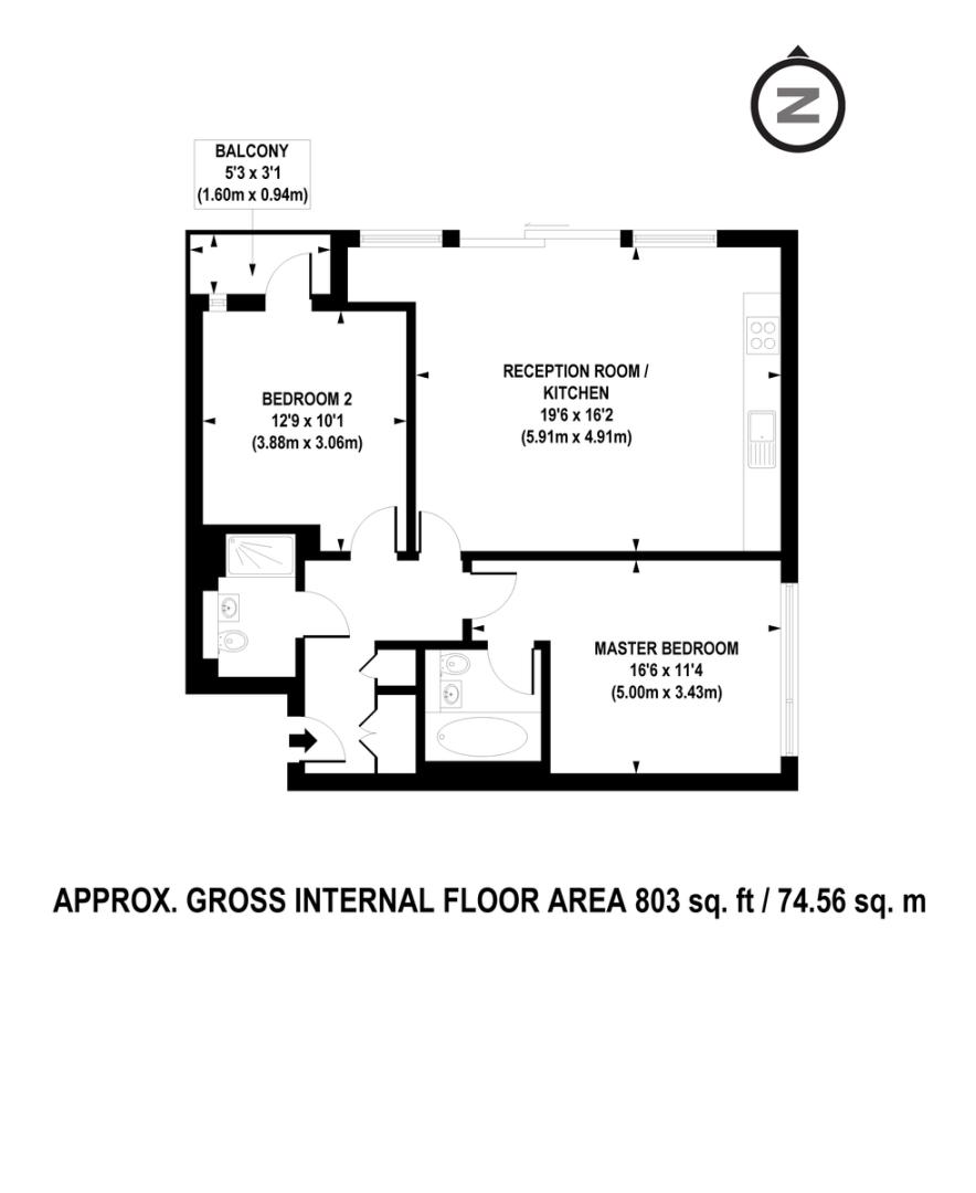 2 bed flat to rent in Grosvenor Waterside, London - Property Floorplan