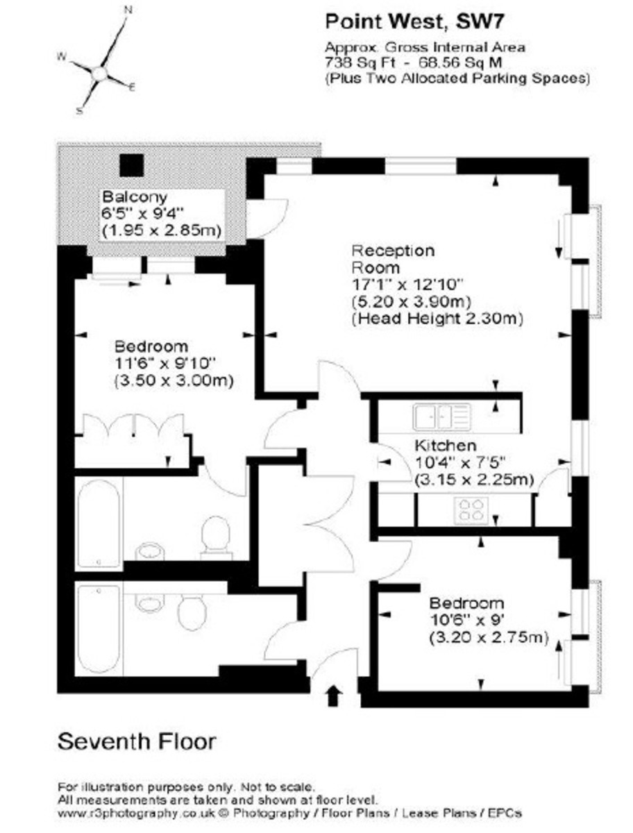 2 bed flat for sale in Point West , 116 Cromwell Road - Property Floorplan