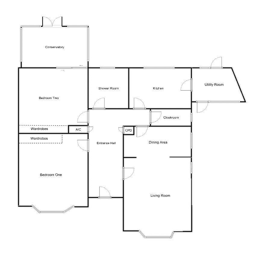 2 bed bungalow for sale in Stoke Sub Hamdon - Property Floorplan