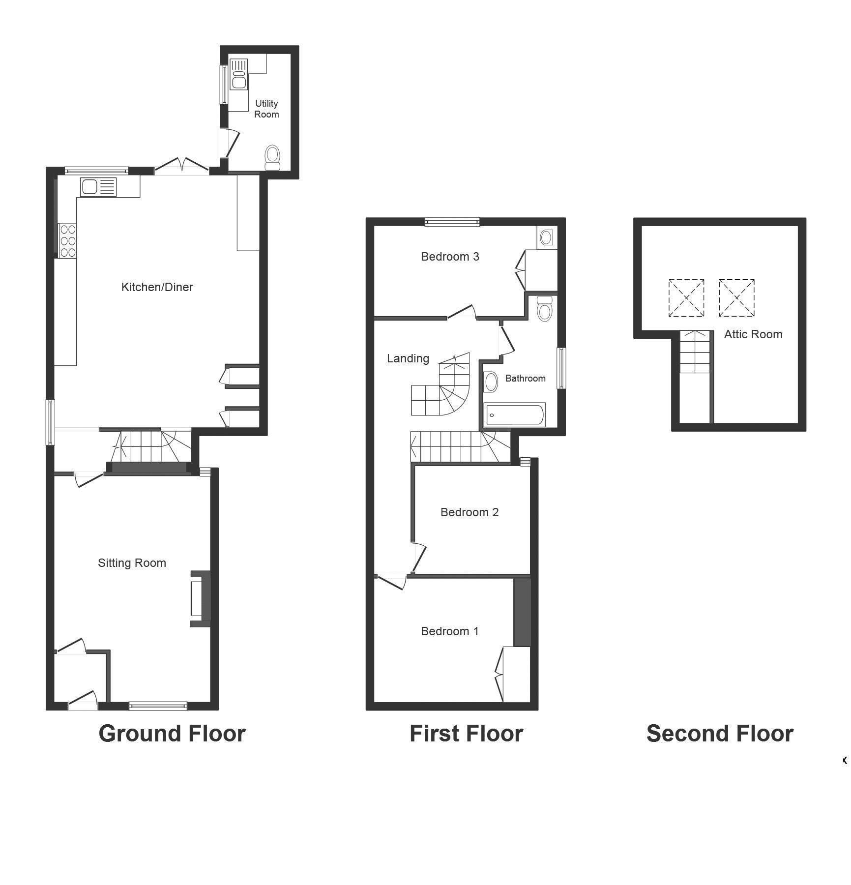 3 bed house for sale in Montacute - Property Floorplan