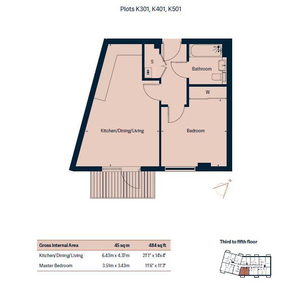 1 bed flat for sale in Ocean Drive - Property Floorplan