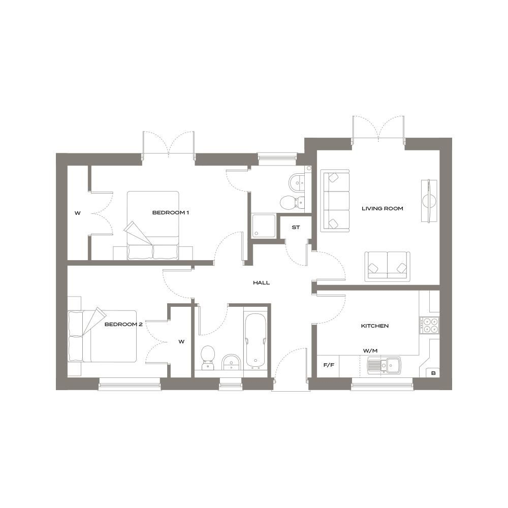 2 bed semi-detached-bungalow for sale - Property Floorplan