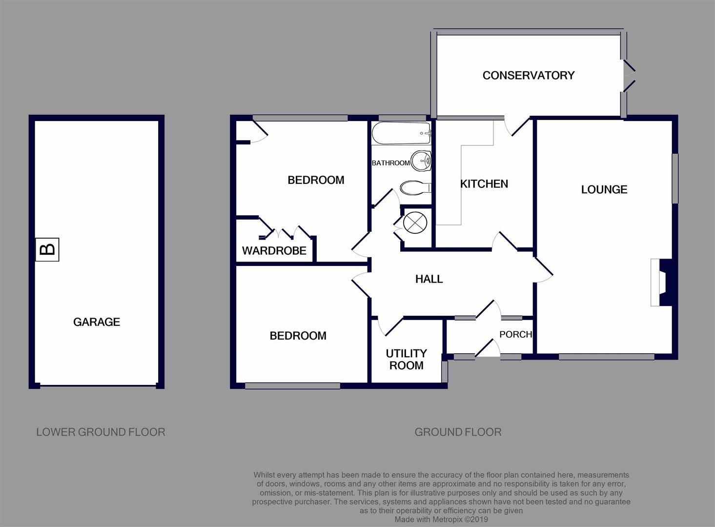 2 bed detached-bungalow for sale - Property Floorplan
