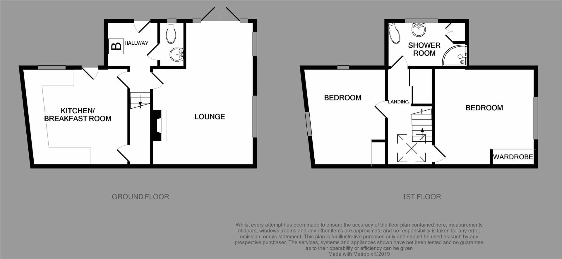 2 bed semi-detached for sale in Clent - Property Floorplan