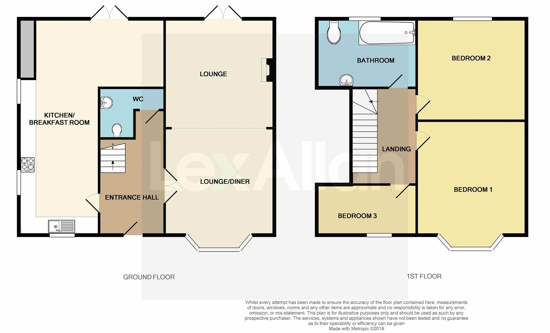 3 bed semi-detached for sale in Pedmore - Property Floorplan