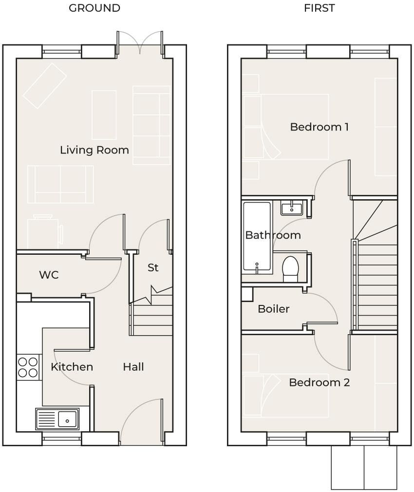 2 bed end-of-terrace for sale - Property Floorplan