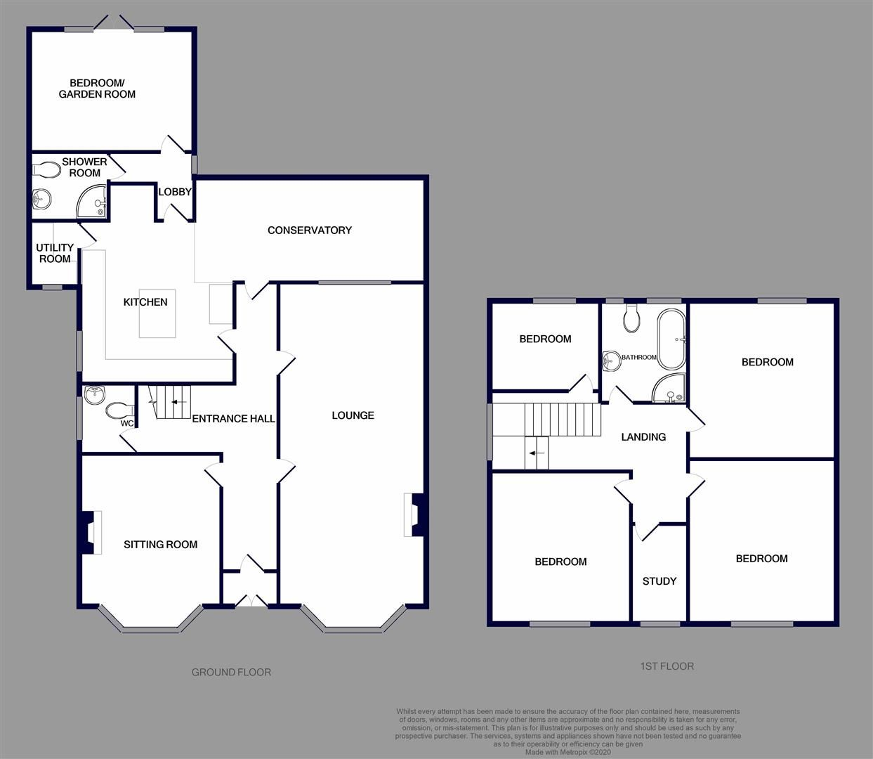 5 bed detached for sale in Hagley - Property Floorplan