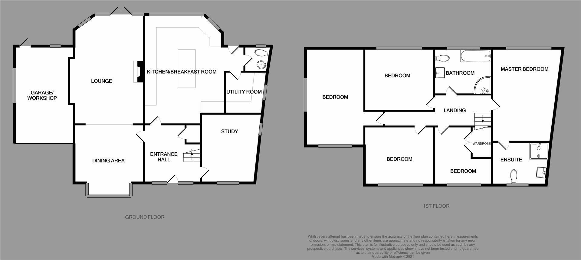 5 bed detached for sale in Hagley - Property Floorplan