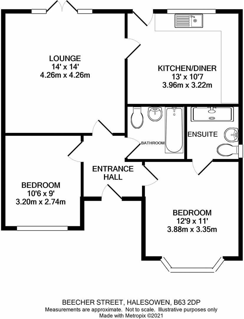2 bed detached-bungalow for sale - Property Floorplan