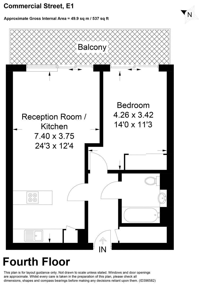 1 bed flat to rent in Kensington Apartments - Property Floorplan