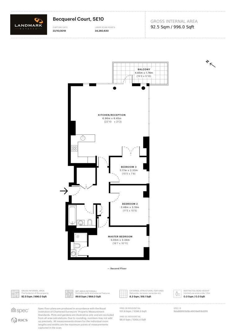 3 bed flat for sale in Becquerel Court - Property Floorplan