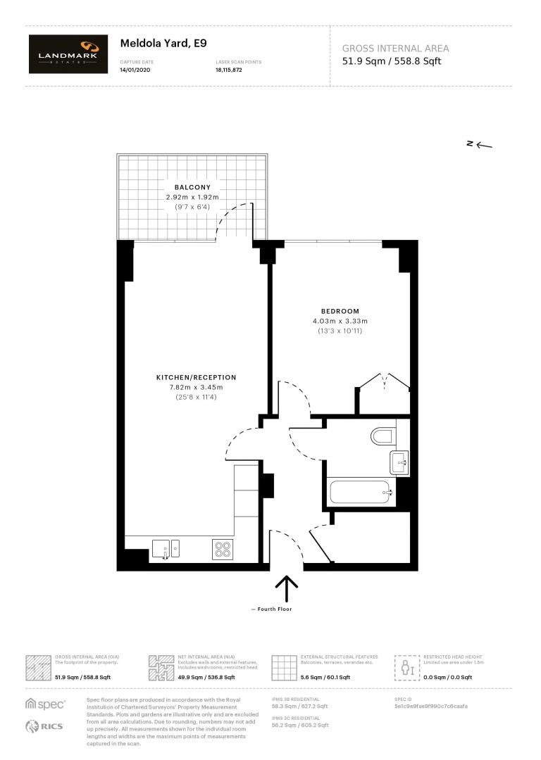 1 bed flat for sale in Bagel Factory - Property Floorplan