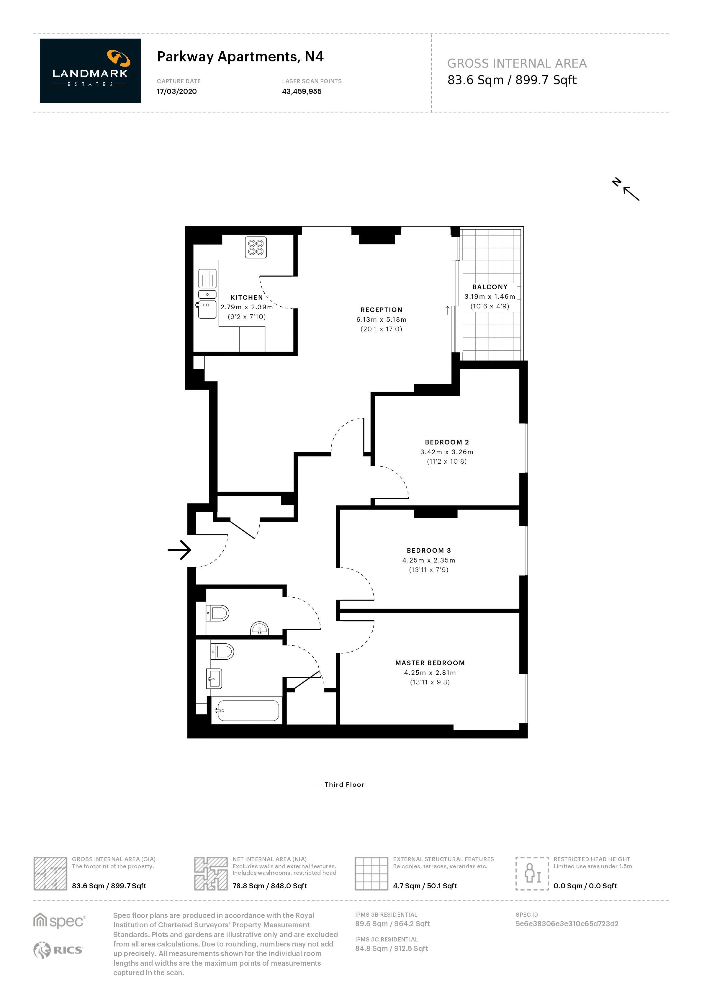 3 bed flat to rent in Goodchild Road - Property Floorplan