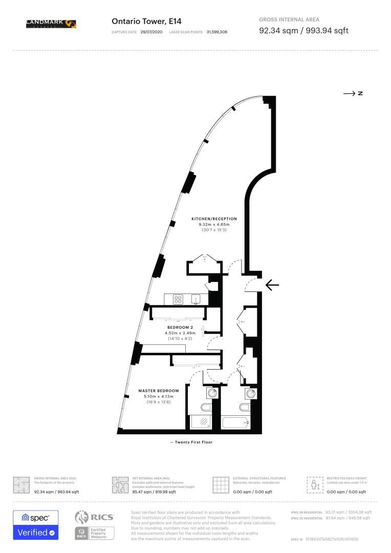 2 bed flat for sale in Ontario Tower - Property Floorplan