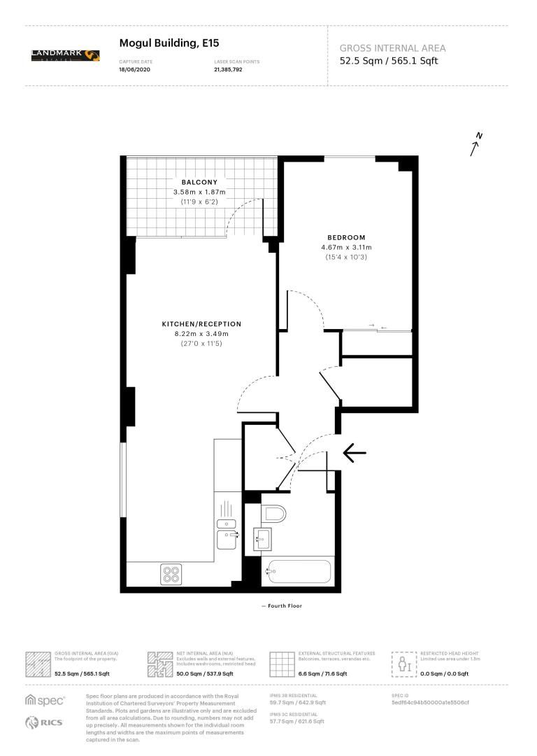 1 bed flat for sale in Mogul Building - Property Floorplan