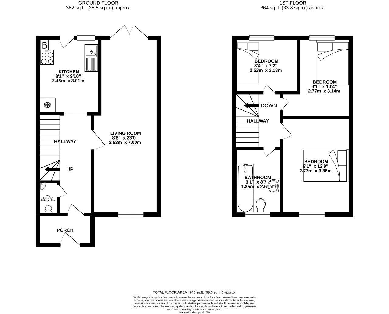 3 bed house for sale in Bracken Close - Property Floorplan