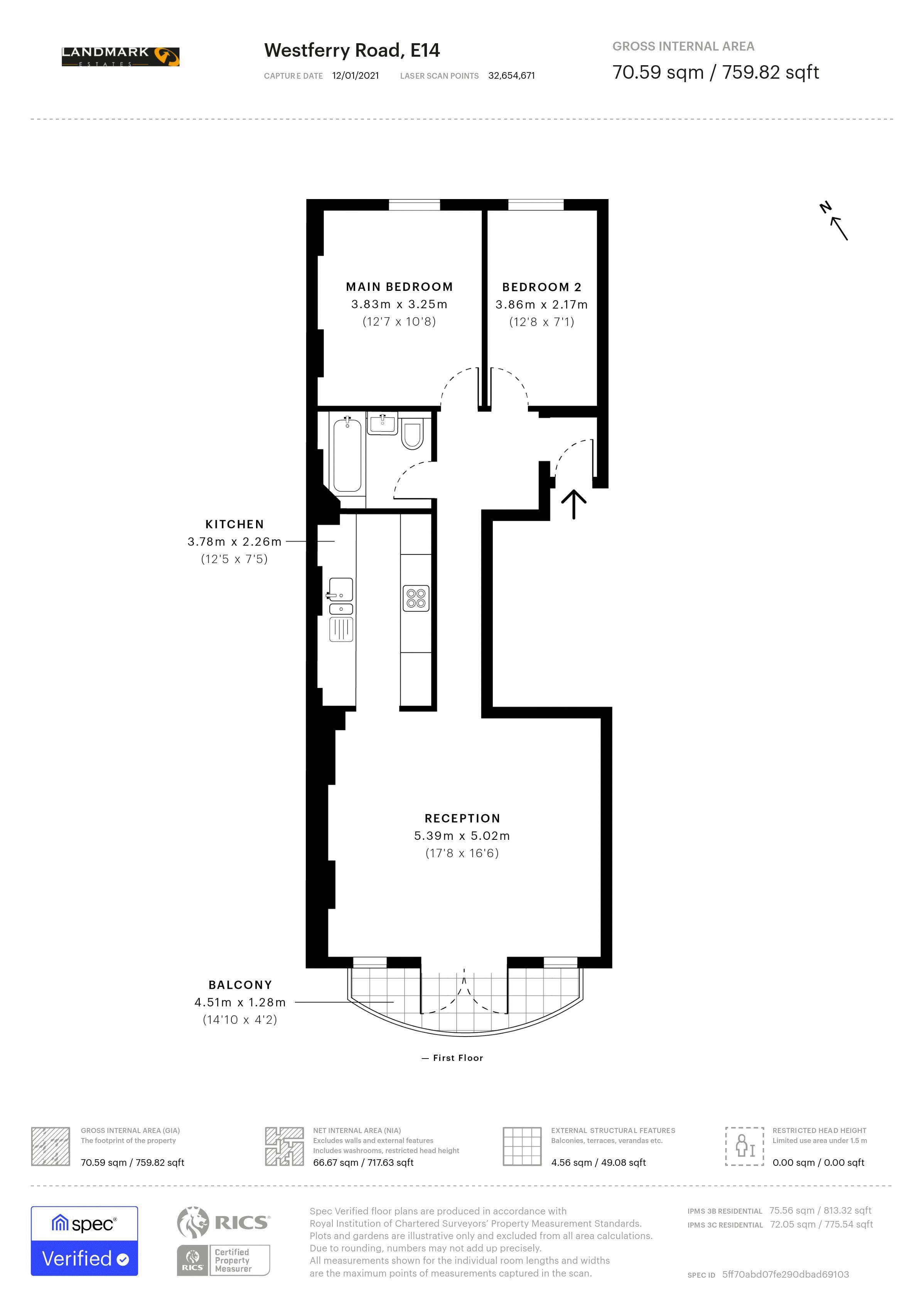 2 bed flat for sale in 270 Westferry Road - Property Floorplan