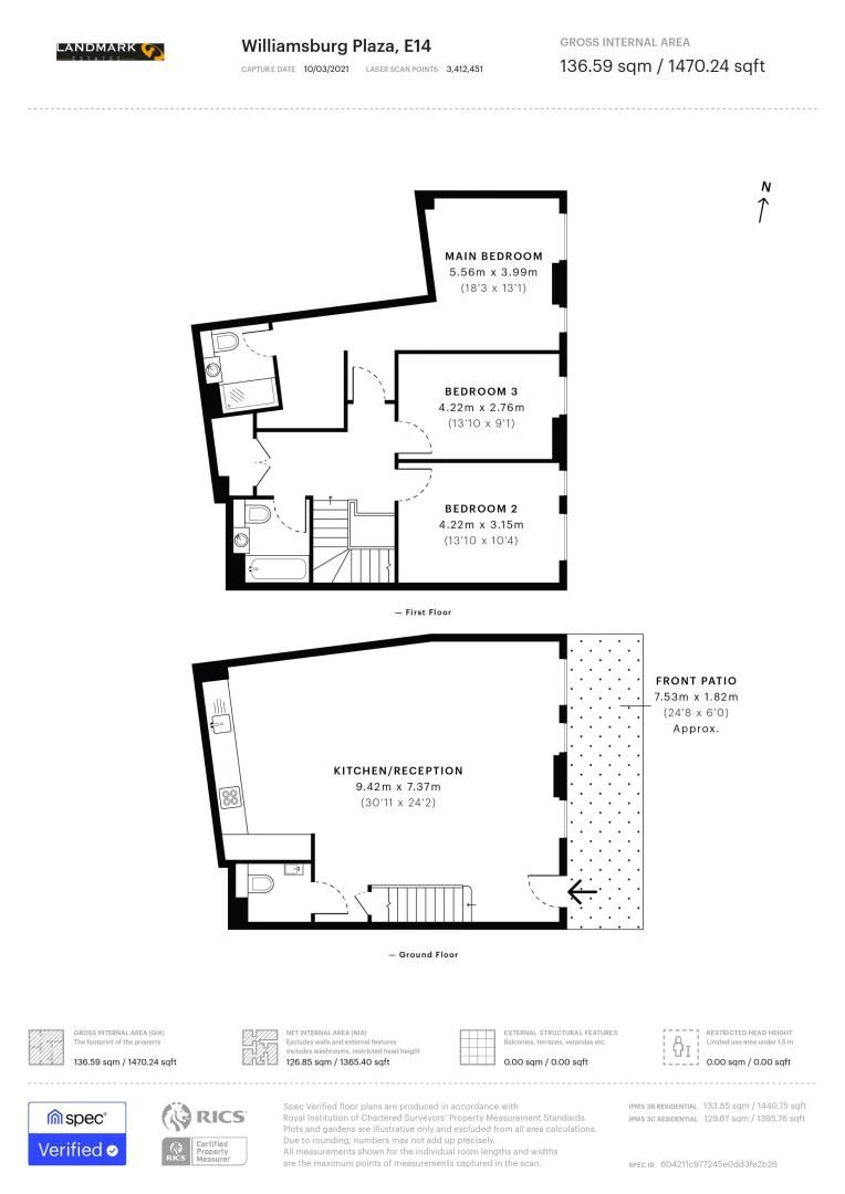 3 bed house for sale in Williamsburg Plaza - Property Floorplan