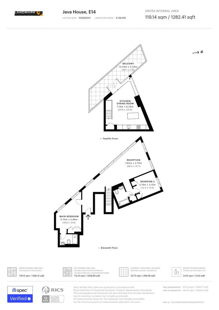 2 bed flat to rent in Java House - Property Floorplan