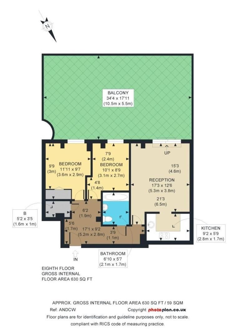 2 bed flat for sale in Millharbour - Property Floorplan