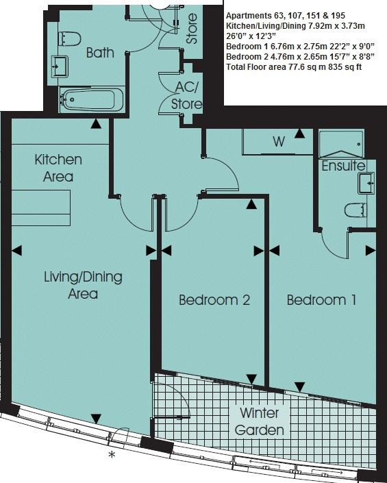 2 bed flat for sale in Great Eastern Road - Property Floorplan