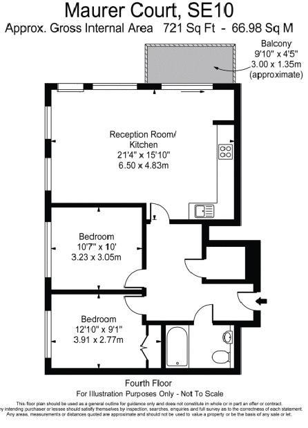 2 bed flat for sale in John Harrison Way - Property Floorplan