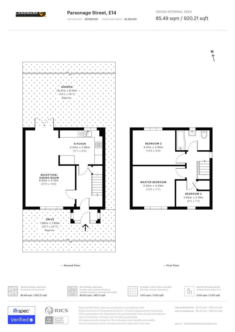3 bed house for sale in Parsonage Street - Property Floorplan