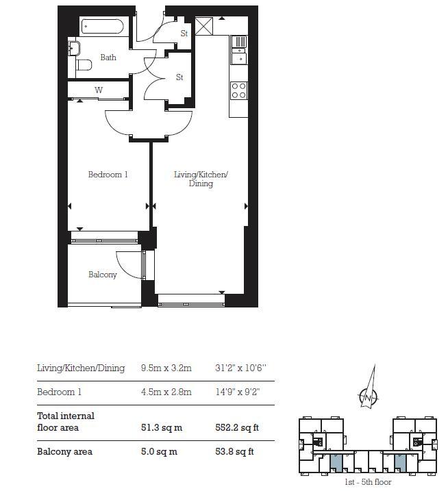 1 bed flat for sale in Aberfeldy Village, E14 - Property Floorplan