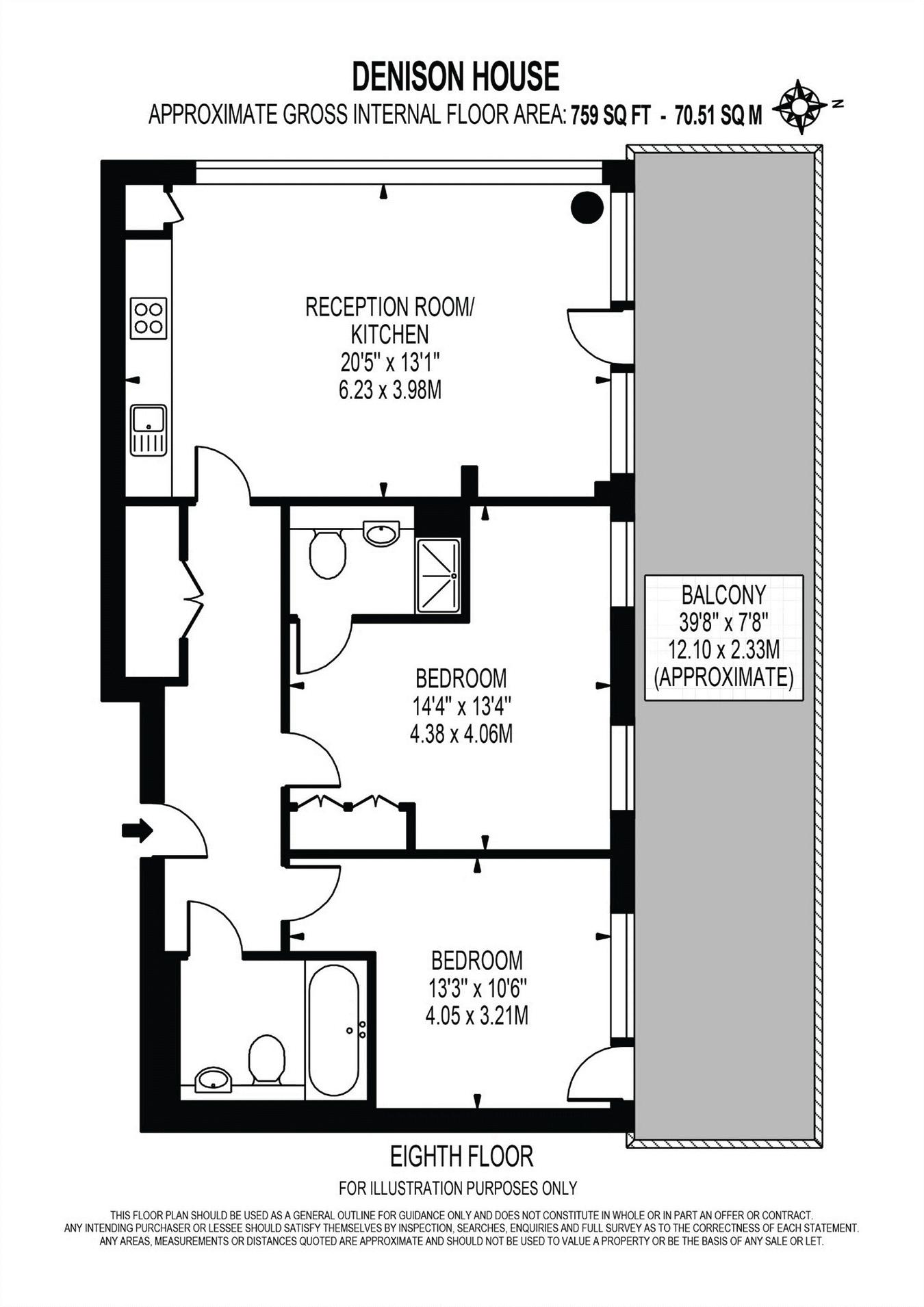 2 bed flat to rent in Denison House - Property Floorplan