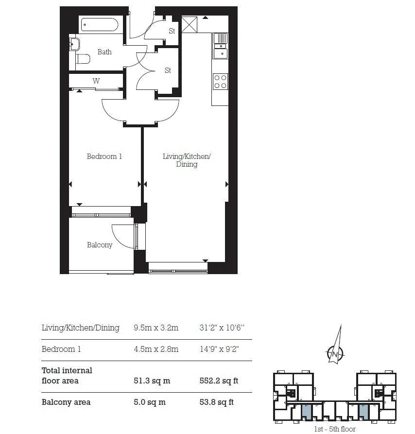 1 bed flat for sale in Aberfeldy Village - Property Floorplan