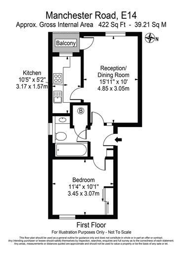 1 bed flat for sale in Manchester Road - Property Floorplan