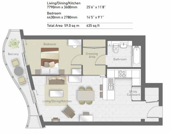 1 bed flat for sale in East Tower Hoola - Property Floorplan