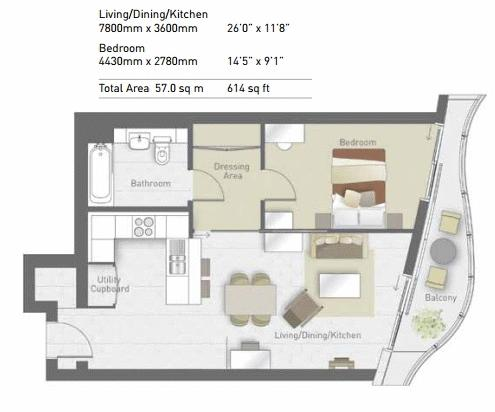 1 bed  for sale in Tower Hoola West - Property Floorplan