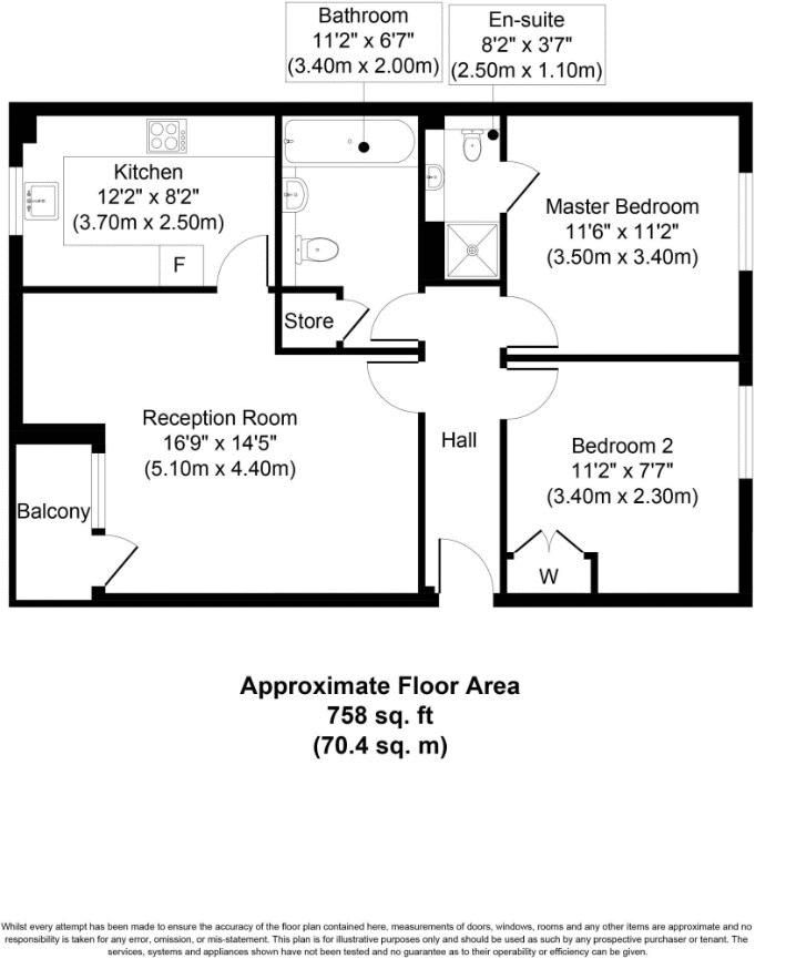 2 bed flat for sale in Felixstowe Court - Property Floorplan