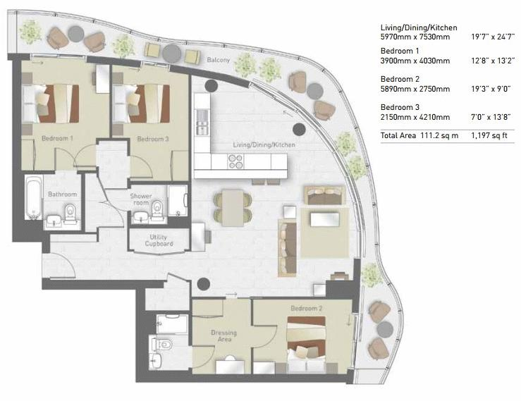 3 bed flat for sale in Hoola Tower West - Property Floorplan