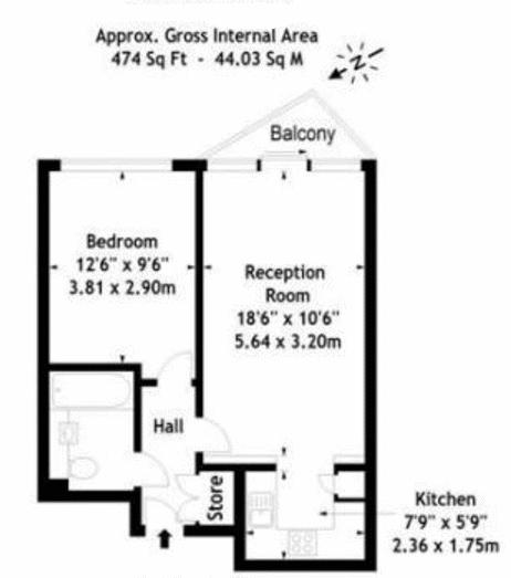 1 bed flat for sale in Proton Tower - Property Floorplan