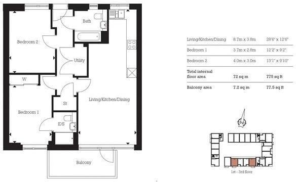 2 bed flat for sale in Aberfeldy Village - Property Floorplan