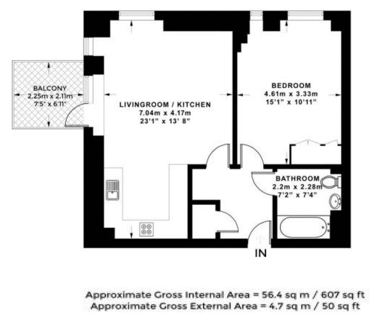 1 bed  for sale in Centurion Tower - Property Floorplan