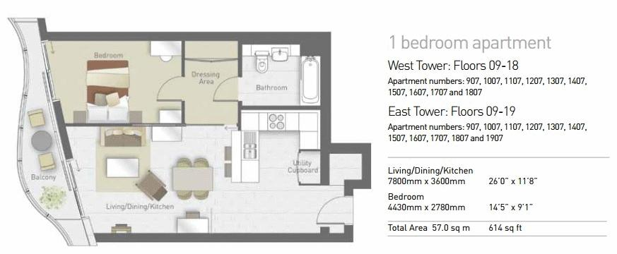 1 bed flat for sale in Hoola Tower East - Property Floorplan