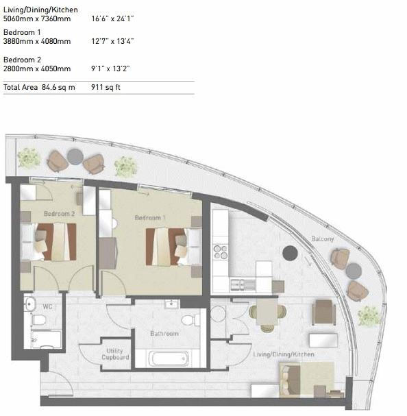 2 bed flat for sale in Hoola Tower West - Property Floorplan