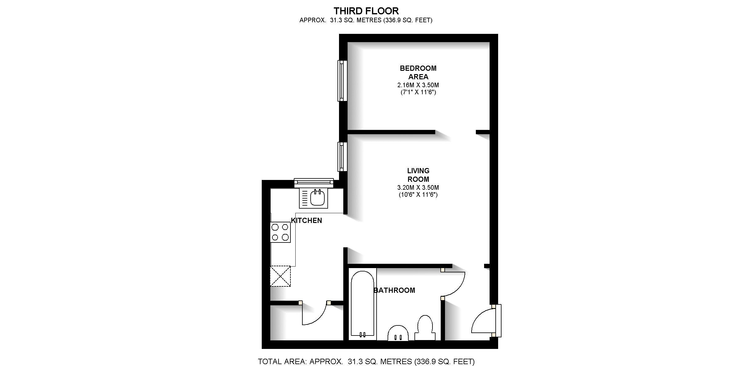 1 bed flat for sale in Telegraph Place - Property Floorplan