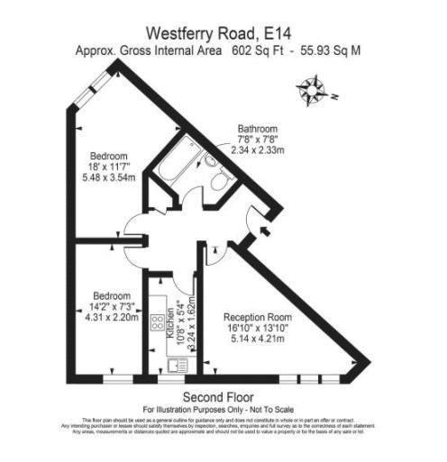 2 bed flat for sale in Westferry Road - Property Floorplan