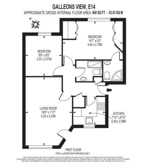 2 bed flat for sale in Galleons View - Property Floorplan