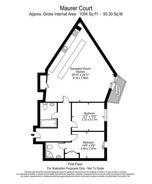 2 bed flat to rent in Maurer Court - Property Floorplan