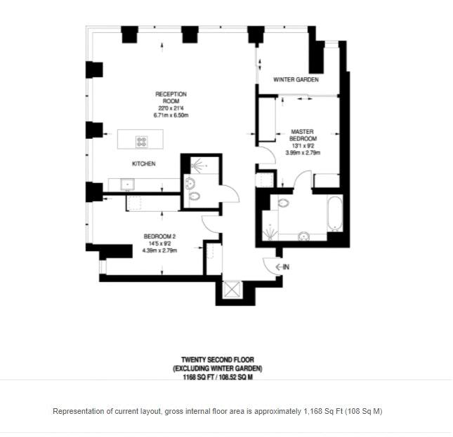 2 bed flat to rent in South Bank Tower - Property Floorplan