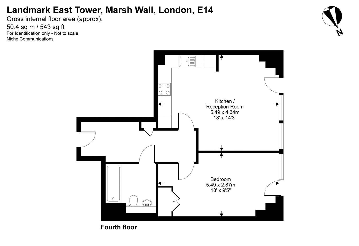 1 bed flat to rent in Landmark East Tower - Property Floorplan