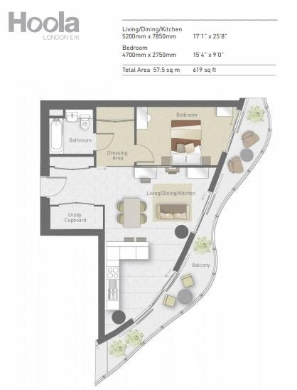 1 bed flat for sale in Hoola Tower - Property Floorplan