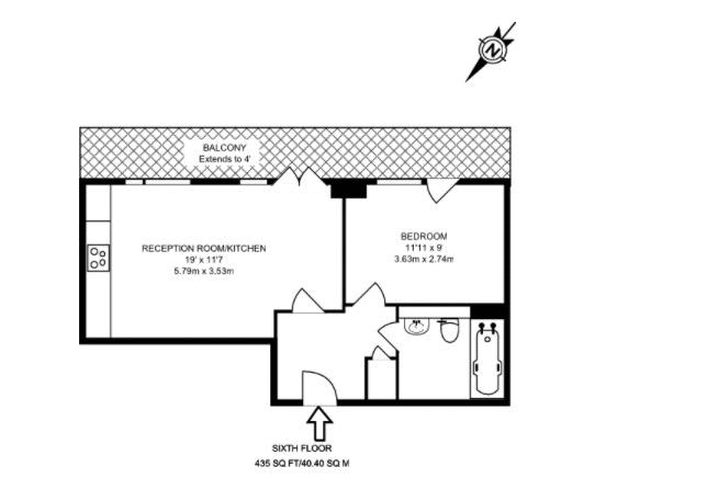 1 bed flat for sale in Callisto Court - Property Floorplan