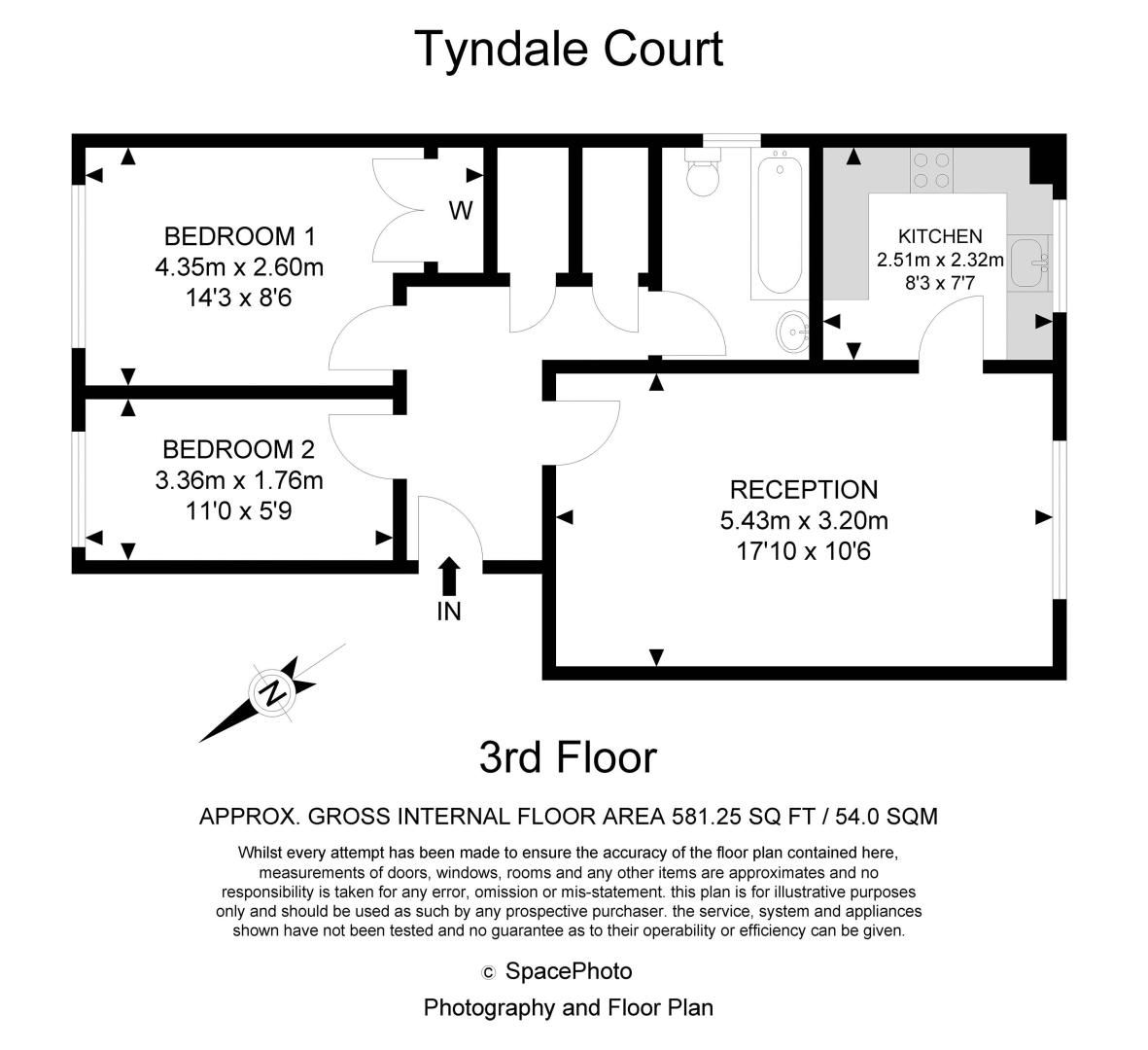 2 bed flat for sale in Tyndale Court - Property Floorplan